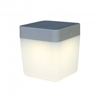 LUTEC 6908001337 | Table-Cube Lutec nosiva, stolna svjetiljka sa tiristorski dodirnim prekidačem solarna baterija, jačina svjetlosti se može podešavati 1x LED 100lm 3000K IP44 srebrna siva, opal
