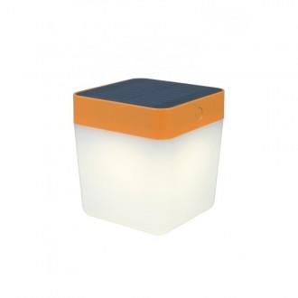 LUTEC 6908001340 | Table-Cube Lutec nosiva, stolna svjetiljka sa tiristorski dodirnim prekidačem solarna baterija, jačina svjetlosti se može podešavati 1x LED 100lm 3000K IP44 narančasto, opal