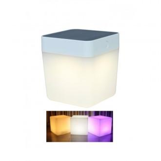 LUTEC 6908003331 | Table-Cube Lutec nosiva, stolna svjetiljka sa tiristorski dodirnim prekidačem solarna baterija, jačina svjetlosti se može podešavati, promjenjive boje 1x LED 100lm IP44 bijelo, opal