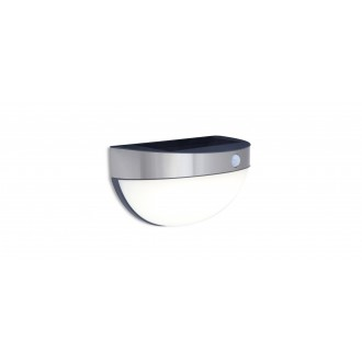 LUTEC 6908701001 | Bubble Lutec zidna svjetiljka sa senzorom, s prekidačem solarna baterija 1x LED 200lm 4000K IP44 plemeniti čelik, čelik sivo, opal