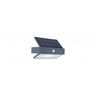 LUTEC 6910601335 | Arrow-LU Lutec zidna svjetiljka sa senzorom, s prekidačem solarna baterija 1x LED 180lm 5000K IP44 antracit siva, prozirno