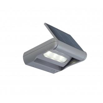 LUTEC 6914401000 | Mini-LedspoT Lutec zidna svjetiljka sa tiristorskim prekidačem solarna baterija, jačina svjetlosti se može podešavati, elementi koji se mogu okretati 1x LED 100lm 4000K IP44 srebrna siva, prozirno
