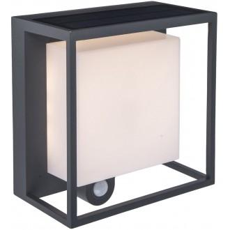 LUTEC 6934601118 | Curtis Lutec zidna svjetiljka sa senzorom solarna baterija 1x LED 300lm 3000K IP54 tamno siva, opal