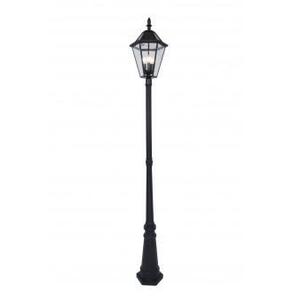 LUTEC 6951301189 | London-LU Lutec podna svjetiljka 227cm s prekidačem solarna baterija 3x E12 300lm 2700K IP44 crno, prozirno