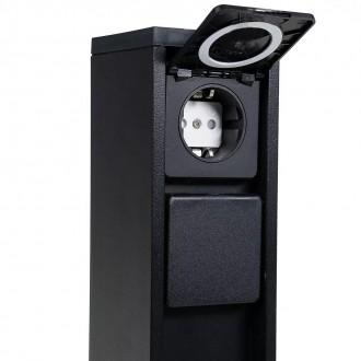 LUTEC 9702201012 | Mains Lutec utikačni stup svjetiljka s utičnicom IP54 crno mat