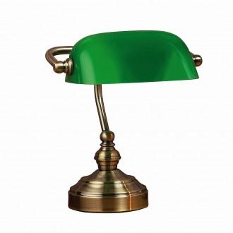MARKSLOJD 105930 | Bankers Markslojd stolna svjetiljka 25cm sa prekidačem na kablu 1x E14 antik bakar, zeleno