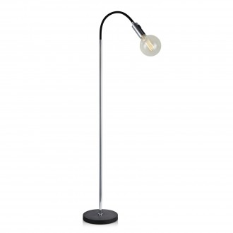 MARKSLOJD 106598 | Raw Markslojd podna svjetiljka 132cm s prekidačem 1x E27 crno, krom