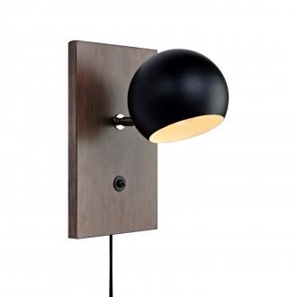 MARKSLOJD 106613 | Fletcher Markslojd zidna svjetiljka s prekidačem 1x E14 boja oraha, crno, bijelo
