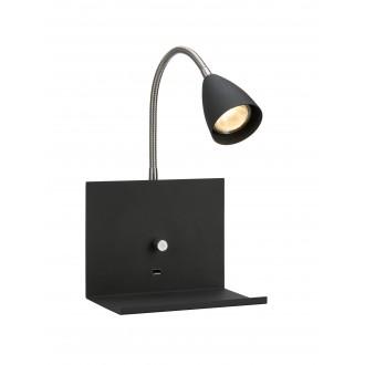 MARKSLOJD 107141 | Logi Markslojd zidna svjetiljka sa tiristorskim prekidačem jačina svjetlosti se može podešavati, USB utikač 1x GU10 crno, krom