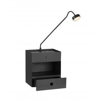 MARKSLOJD 107375   Draw Markslojd zidna svjetiljka sa tiristorskim prekidačem jačina svjetlosti se može podešavati, USB utikač, fioka 1x LED 525lm crno, opal