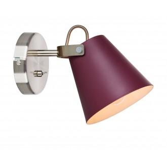 MARKSLOJD 107397 | Tribe-MS Markslojd zidna svjetiljka s prekidačem elementi koji se mogu okretati 1x E14 burgundac, čelik