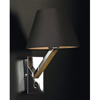 MAXLIGHT 5103W/BL | OrlandoM Maxlight zidna svjetiljka s prekidačem 1x E27 crno, krom