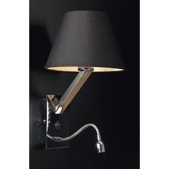 MAXLIGHT 5103WA/BL | OrlandoM Maxlight zidna svjetiljka s prekidačem fleksibilna 1x E27 + 1x LED crno, krom