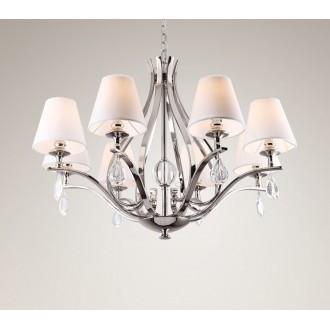 MAXLIGHT P0111 | Palace Maxlight luster svjetiljka 8x E14 krom, bijelo, prozirno