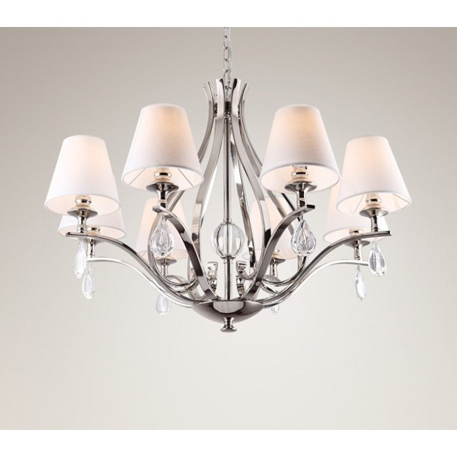 MAXLIGHT P0111   Palace Maxlight luster svjetiljka 8x E14 krom, bijelo, prozirno