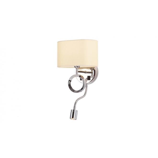 MAXLIGHT W0228 | Olimpic Maxlight zidna svjetiljka dva prekidača fleksibilna 1x E14 + 1x LED krom, bijelo