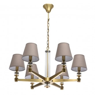 MW-LIGHT 700012106 | DelRey Mw-Light luster svjetiljka 6x E14 2580lm mesing, bež, prozirno