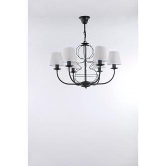 NAMAT 3262 | Fiora Namat luster svjetiljka 6x E14 crno mat, prozirna bijela