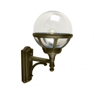 NORLYS 360BD | Bologna Norlys zidna svjetiljka 1x E27 IP54 antik crno, zlatno, prozirno