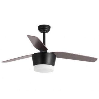 NOVA LUCE 5260251 | Monsoon Nova Luce stropne svjetiljke ventilatorska lampa daljinski upravljač 1x LED 650lm 3000K crno, boja hrasta, bijelo