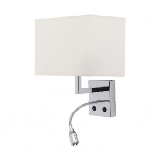 NOWODVORSKI 6800 | Hotel Nowodvorski zidna svjetiljka dva prekidača fleksibilna 1x E27 + 1x LED krom, bijelo