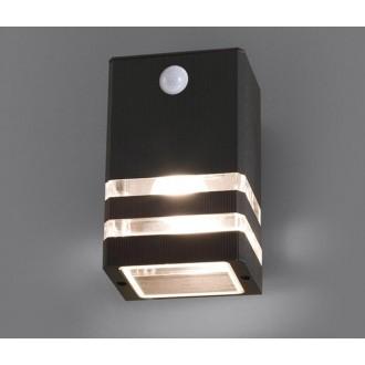 NOWODVORSKI 7017 | Rio Nowodvorski zidna svjetiljka sa senzorom 1x E27 IP54 crno, prozirna