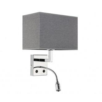NOWODVORSKI 9302 | Hotel Nowodvorski zidna svjetiljka dva prekidača fleksibilna 1x E27 + 1x LED sivo, krom