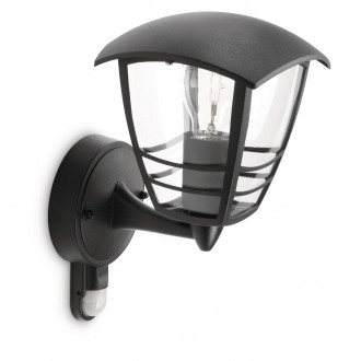 PHILIPS 15388/30/16 | CreekP Philips zidna svjetiljka sa senzorom 1x E27 IP44 crno