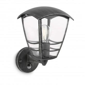 PHILIPS 15468/54/16 | Stream Philips zidna svjetiljka sa senzorom 1x E27 IP44 antik crno, prozirno