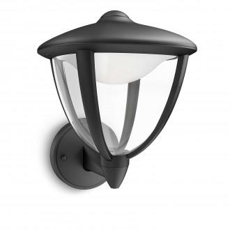 PHILIPS 15470/30/16 | Robin Philips zidna svjetiljka 1x LED 430lm 2700K IP44 crno, bijelo, prozirno