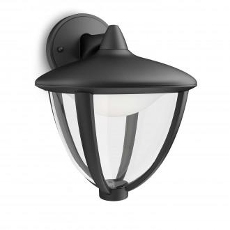 PHILIPS 15471/30/16 | Robin Philips zidna svjetiljka 1x LED 430lm 2700K IP44 crno, bijelo, prozirno