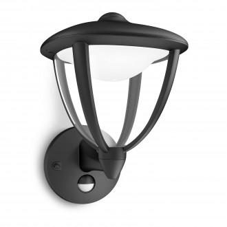PHILIPS 15479/30/16   Robin Philips zidna svjetiljka sa senzorom 1x LED 430lm 2700K IP44 crno, bijelo, prozirno