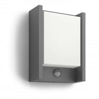 PHILIPS 16461/93/16 | Arbour Philips zidna svjetiljka sa senzorom 1x LED 600lm 2700K IP44 antracit, bijelo