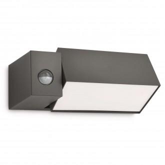 PHILIPS 16943/93/16 | Border Philips zidna svjetiljka sa senzorom elementi koji se mogu okretati 1x E27 1430lm 2700K IP44 antracit siva