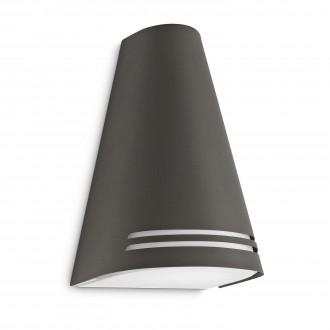 PHILIPS 17226/93/16 | Woods Philips zidna svjetiljka za štednu žarulju 1x E27 970lm 2700K IP44 antracit, bijelo
