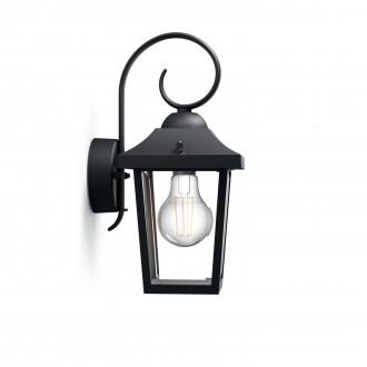 PHILIPS 17236/30/PN | Buzzard Philips zidna svjetiljka 1x E27 IP44 crno, prozirno