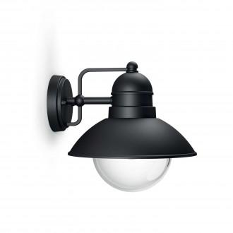 PHILIPS 17237/30/PN | Hoverfly Philips zidna svjetiljka 1x E27 IP44 crno, prozirno
