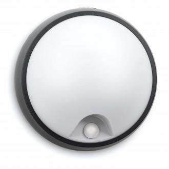 PHILIPS 17318/30/16 | Eagle Philips zidna, stropne svjetiljke svjetiljka sa senzorom 1x LED 320lm 2700K IP44 crno, bijelo