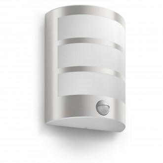 PHILIPS 17324/47/16 | Python Philips zidna svjetiljka sa senzorom 1x LED 600lm 2700K IP44 inox, bijelo