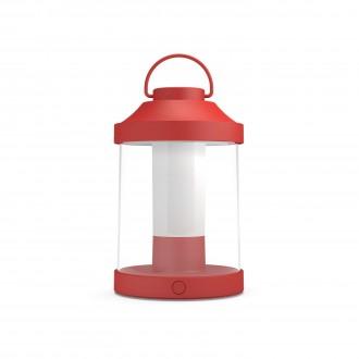 PHILIPS 17360/32/P0 | Abelia Philips nosiva svjetiljka cilindar sa tiristorskim prekidačem jačina svjetlosti se može podešavati, USB utikač 1x LED 350lm 2700K IP44 crveno, bijelo, prozirno