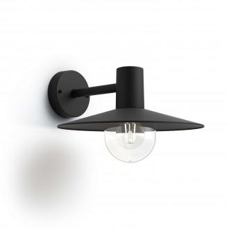 PHILIPS 17382/30/PN | Skua Philips zidna svjetiljka 1x E27 IP44 crno, prozirno