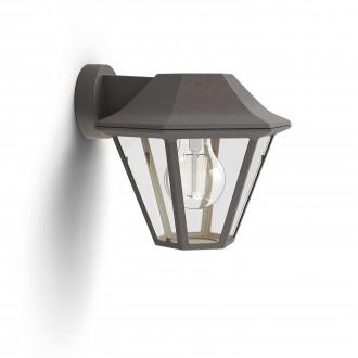 PHILIPS 17386/43/PN | Curassow Philips zidna svjetiljka 1x E27 IP44 braon antik, prozirno