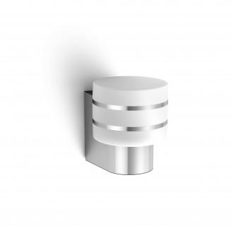 PHILIPS 17404/47/P0 | PHILIPS-hue-Tuar Philips zidna hue smart rasvjeta jačina svjetlosti se može podešavati 1x E27 806lm 2700K IP44 inox, bijelo