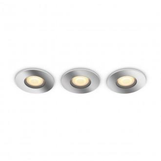 PHILIPS 34176/11/P6 | PHILIPS-hue-Adore Philips ugradbene svjetiljke hue DIM portable prekidač + hue smart rasvjeta okrugli daljinski upravljač jačina svjetlosti se može podešavati, sa podešavanjem temperature boje, Bluetooth, trodijelni set Ø94mm 3x GU10