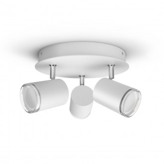 PHILIPS 34181/31/P6 | PHILIPS-hue-Adore Philips spot hue DIM portable prekidač + hue smart rasvjeta okrugli daljinski upravljač jačina svjetlosti se može podešavati, sa podešavanjem temperature boje, Bluetooth 3x GU10 1050lm 2200 <-> 6500K IP44 bije