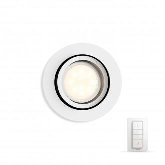 PHILIPS 50411/31/P7 | PHILIPS-hue-Milliskin Philips ugradbene svjetiljke hue DIM portable prekidač + hue smart rasvjeta okrugli daljinski upravljač jačina svjetlosti se može podešavati, sa podešavanjem temperature boje, pomjerljivo 90x90mm 1x GU10 250lm 2