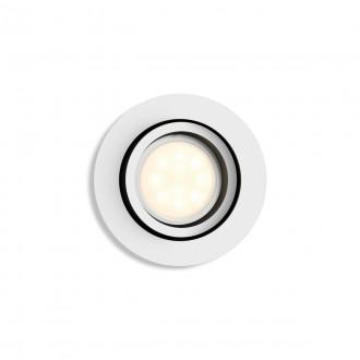 PHILIPS 50411/31/P9 | PHILIPS-hue-Milliskin Philips ugradbene svjetiljke hue smart rasvjeta okrugli jačina svjetlosti se može podešavati, sa podešavanjem temperature boje, Bluetooth, pomjerljivo Ø90mm 1x GU10 350lm 2200 <-> 6500K bijelo