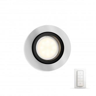 PHILIPS 50411/48/P7 | PHILIPS-hue_Milliskin Philips ugradbene svjetiljke hue smart rasvjeta okrugli daljinski upravljač jačina svjetlosti se može podešavati, sa podešavanjem temperature boje, pomjerljivo 90x90mm 1x GU10 250lm 2200 <-> 6500K aluminij
