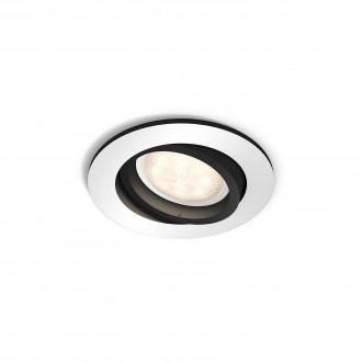 PHILIPS 50411/48/P8 | PHILIPS-hue_Milliskin Philips ugradbene svjetiljke hue smart rasvjeta okrugli jačina svjetlosti se može podešavati, sa podešavanjem temperature boje, pomjerljivo 90x90mm 1x GU10 250lm 2200 <-> 6500K aluminij