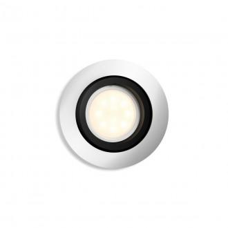 PHILIPS 50411/48/P9 | PHILIPS-hue-Milliskin Philips ugradbene svjetiljke hue smart rasvjeta okrugli jačina svjetlosti se može podešavati, sa podešavanjem temperature boje, Bluetooth, pomjerljivo Ø90mm 1x GU10 350lm 2200 <-> 6500K aluminij